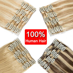 CLEARANCE-Any-Color-Clip-in-100-Remy-Human-Hair-Extensions-Full-Head-Highlight