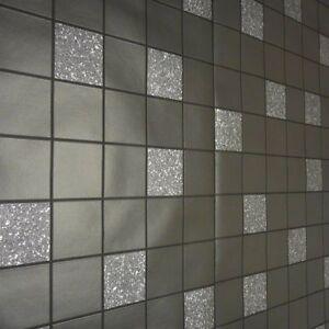 Black Grey Glitter Tile Effect