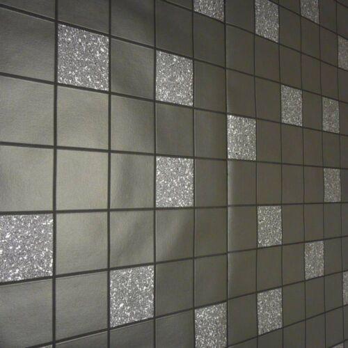 Black Grey Glitter Tile Effect Wallpaper Granite Silver Tile on a Roll Wallpaper