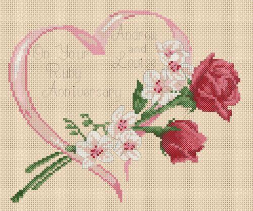 Pdf Rubí Aniversario de Bodas Rosas /& orquídeas cross stitch chart FLOWERPOWER 37