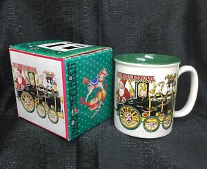 Mary Engelbreit Christmas Coffee Cup Santa on the Train