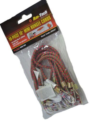 25cm Mini Bungee Cords Straps Elastic Shock Hooks Stretch New 10 Piece
