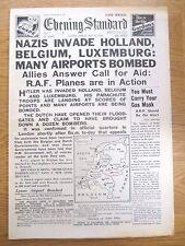 WW2 Newspaper May 10 1940 Holland Belgium Invaded Churchill Evening Standard WAR
