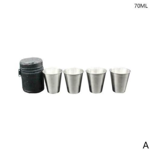 4Pc//Set Stainless Steel Mini Cup Mug Drinking Coffee Travel Tumbler Camping