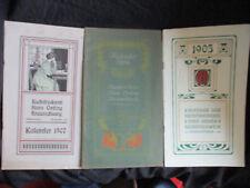 3 xx Kalender Jugendstil Buchdruckerei Oeding Braunschweig 1905 / 06 /07