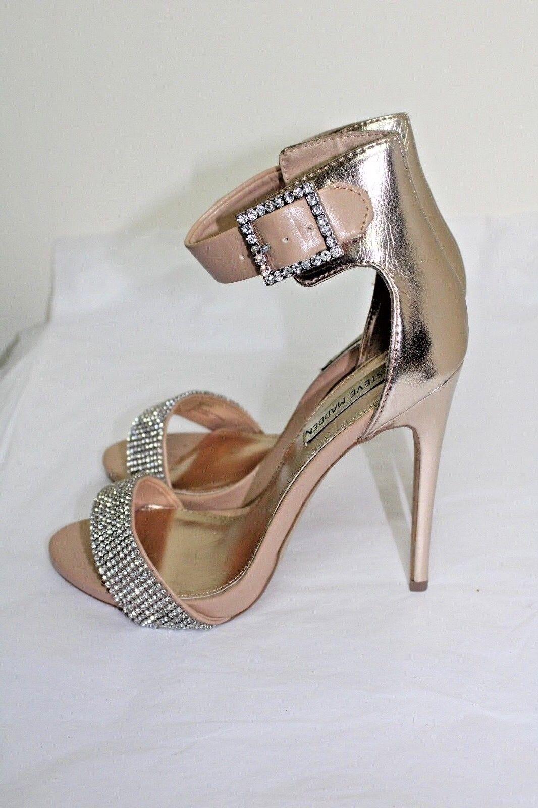 Steve Madden Marlen-R Rhinestone Ankle Strap Nude gold Sandals 8.5M