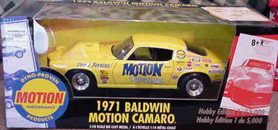 1971 baldwin motion camaro gelbe 1,18 ertl amerikanische power 33100