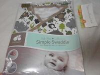 Just Born Cotton Simple Swaddle Safe Sleep Monkeys Hippo Alligator 0-6 Month