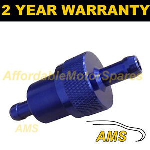 BLUE-6mm-METAL-UNIVERSAL-IN-LINE-FUEL-FILTER-ANODISED-ALUMINIUM