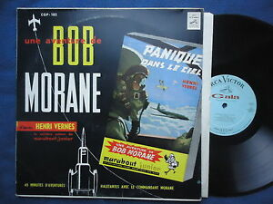 Bob-Morane-LP-Canada-Panique-dans-le-ciel-Henri-Vernes-RCA-bleu-clair