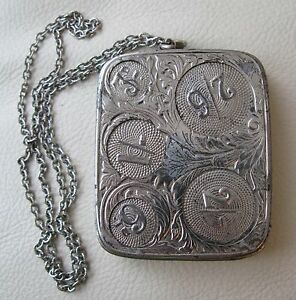 Antique Art Nouveau Chatelaine Floral Engraved Compact 5 Coin Holder GERMANY