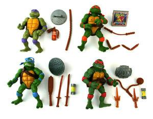 1993-Teenage-Mutant-Ninja-Turtles-Movie-Figure-Tortues-Set-de-4-avec-accessoires-Leo-Don-Mike-amp
