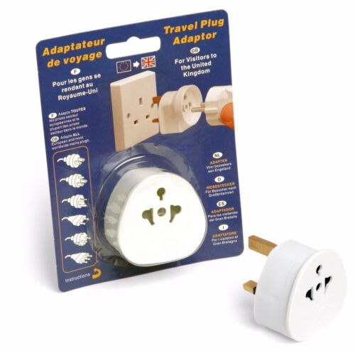 2 x Quality 3 Pin Travel Plug Adaptor 13 Amp Safety Tested Europe to UK