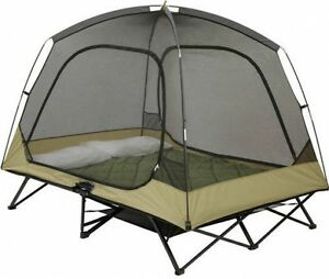 Image is loading Cot-Tent-2-Person-C&ing-Hunting-Padded-Floor-  sc 1 st  eBay & Cot Tent 2 Person Camping Hunting Padded Floor Elevated Gear ...