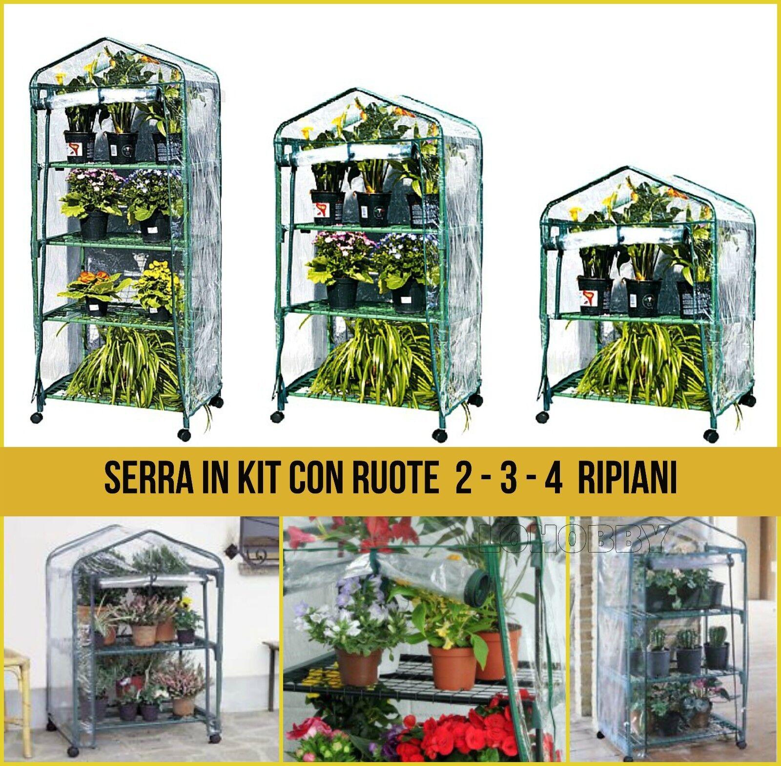 Piccole Serre Da Casa dettagli su serra da balcone in kit 2 - 3 - 4 ripiani con ruote serretta  rapida giardino