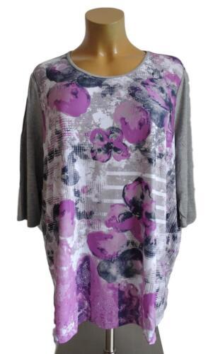 NEU Übergröße Damen Stretch Long Shirt mit floralem Druckdessin Gr.56,58,62