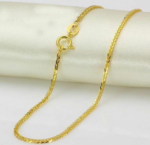 """New Au750 Pure 18K Yellow Gold Necklace 1mmW Elegant Wheat Lucky Chain 15.7/""""L"""