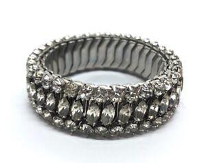 Vintage-Bracelet-Rhinestone-Silver-Tone-Expanding-Stretch
