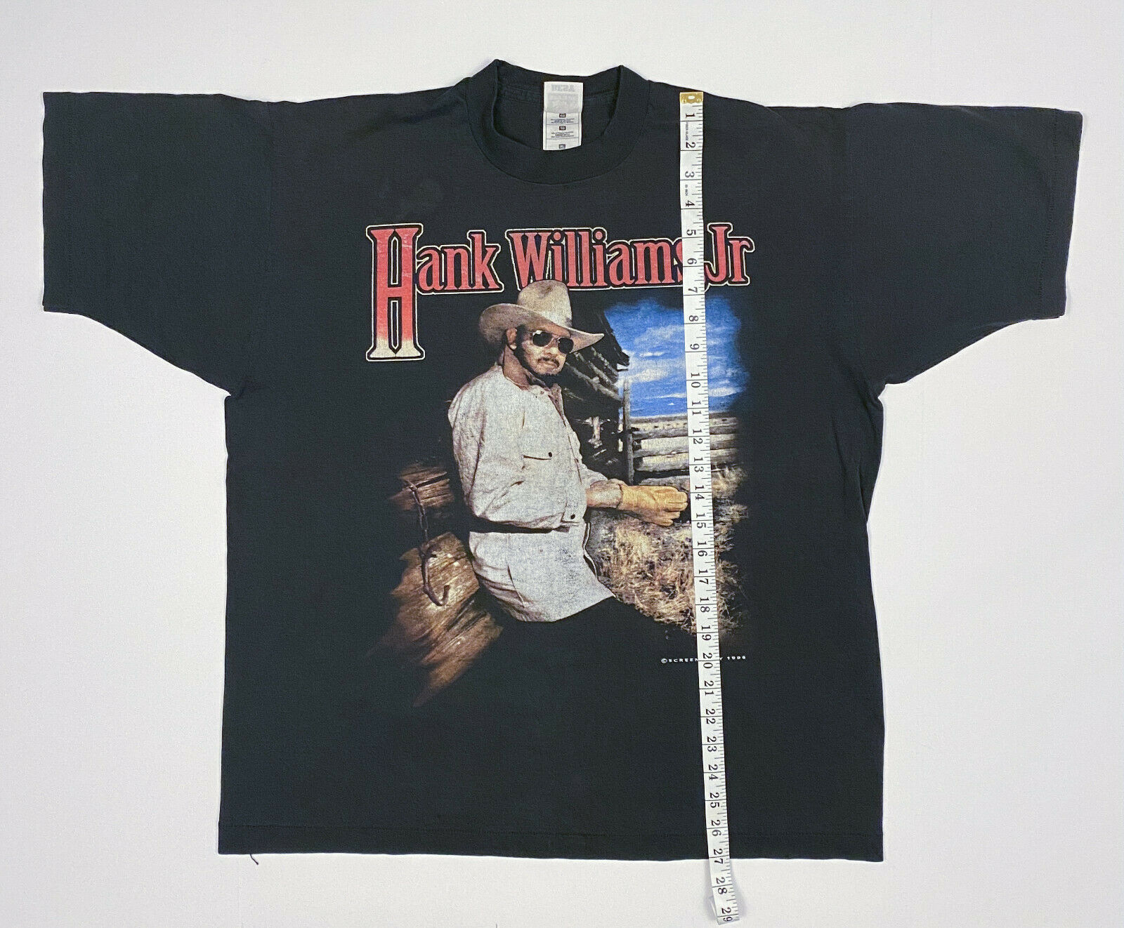 Vintage Hank Williams Jr. 1996 Southern Thunder Tour T-Shirt Black XL Unisex