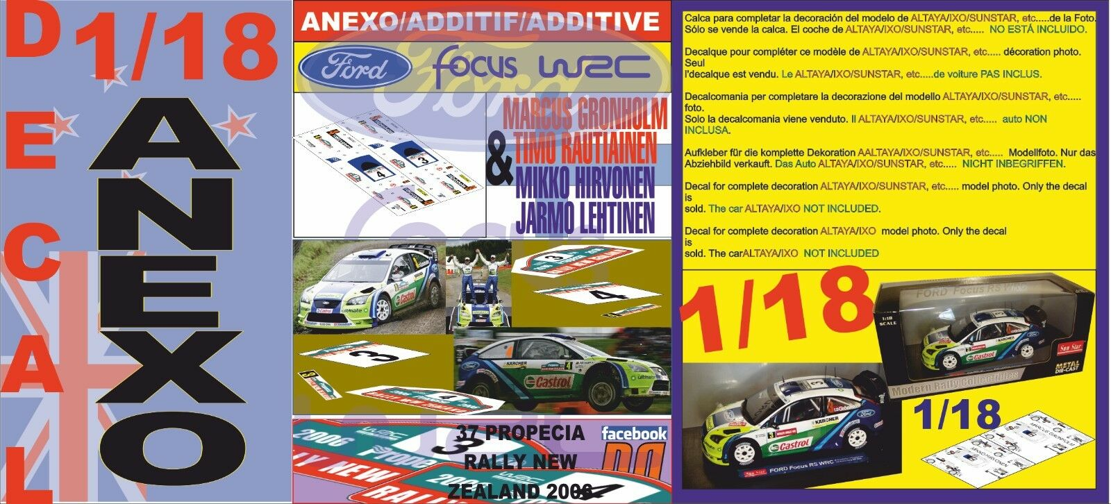 ANEXO DECAL 1 18 FORD FOCUS GRONHOLM & HIRVONEN NEW ZEALAND 2006 1st & 2nd (06)