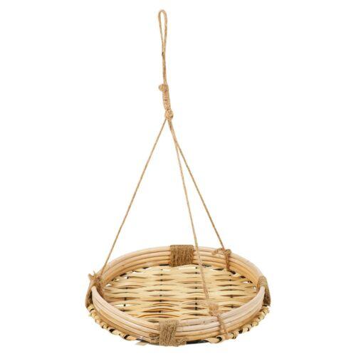 Natural Flower Pot Holder Basket Rope Plant Hanger Bamboo Indoor Outdoor Tray