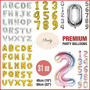 Balloons Numbers Letters Bulk Foil Party Birthday Anniversary Wedding Helium 1 2
