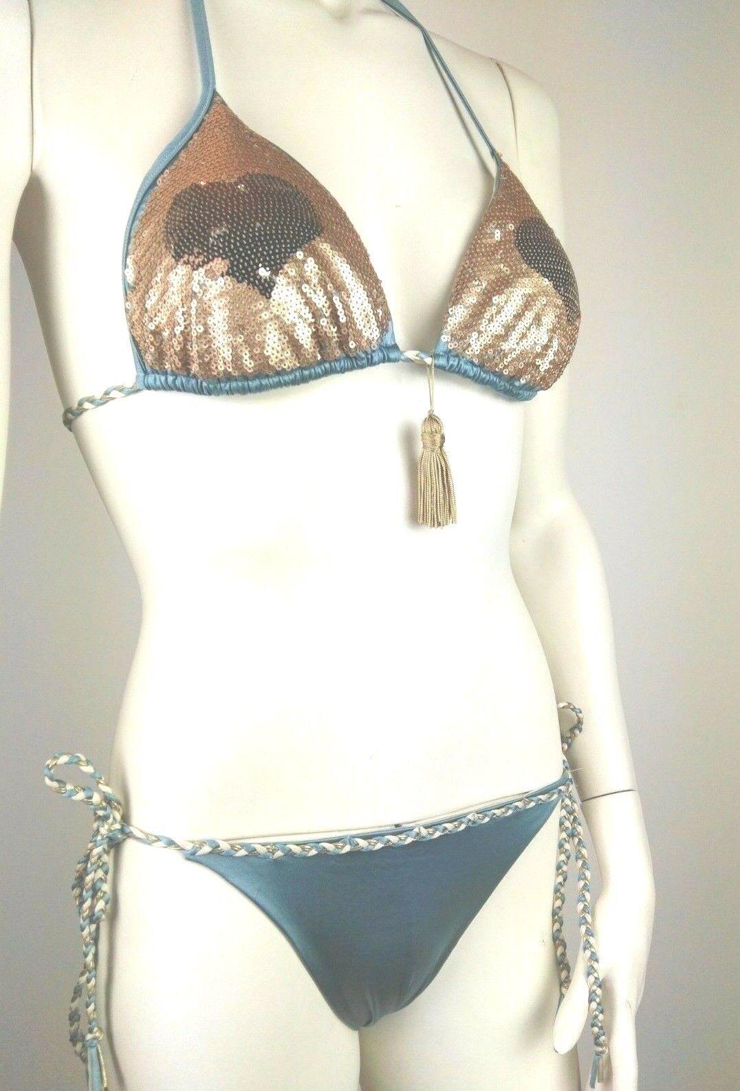 TWINSET,Bikini completo Triangolo imbottito+Tanga,Azzurro,paillettes dorate