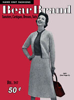 Bear Brand 347 C.1954 Hand Knitting Patterns Sweaters Cardigans Dresses & Suits