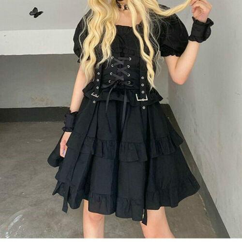Lady Lolita Dress Girls Ruffle Lace Up Retro Puff Sleeve Cosplay Japanese Gothic