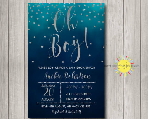 Cus Orde Baby Shower Invitation It's a Boy Blue& Navy Background Silver Stars