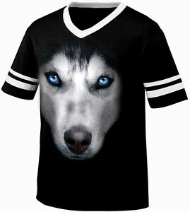 Big Siberian Husky Head Dog Canine Man S Best Friend Retro Ringer T