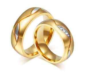 Coppia-Fedi-Fede-Fedine-Anello-Anelli-Oro-Fidanzamento-Nuziali-Cristallo-Acciaio