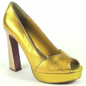 22c62b71efafcc Paris Hilton Women s Adele Platform Pumps Gold Matte Leather Size 7 ...