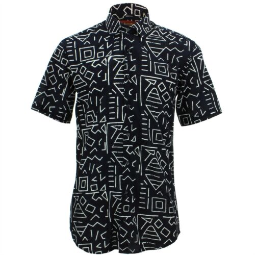 Mens Shirt Loud Originals TAILORED FIT Geometric Black Retro Psychedelic Fancy