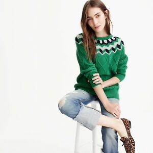 NEW-NWT-J-Crew-Retail-COLLECTION-WIDE-NECK-FAIR-ISLE-CABLE-KNIT-SWEATER-S-4-6