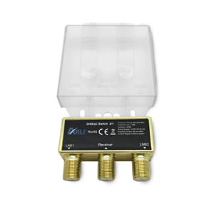 HD DiSEqC Schalter 2 1 2/1 vergoldet Sat Switch 4K Umschalter Wetterschutz 2x1