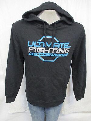 UFC Men Pullover Hooded Sweatshirt Black w// Blue /& Silver Logo MMA A9MRB