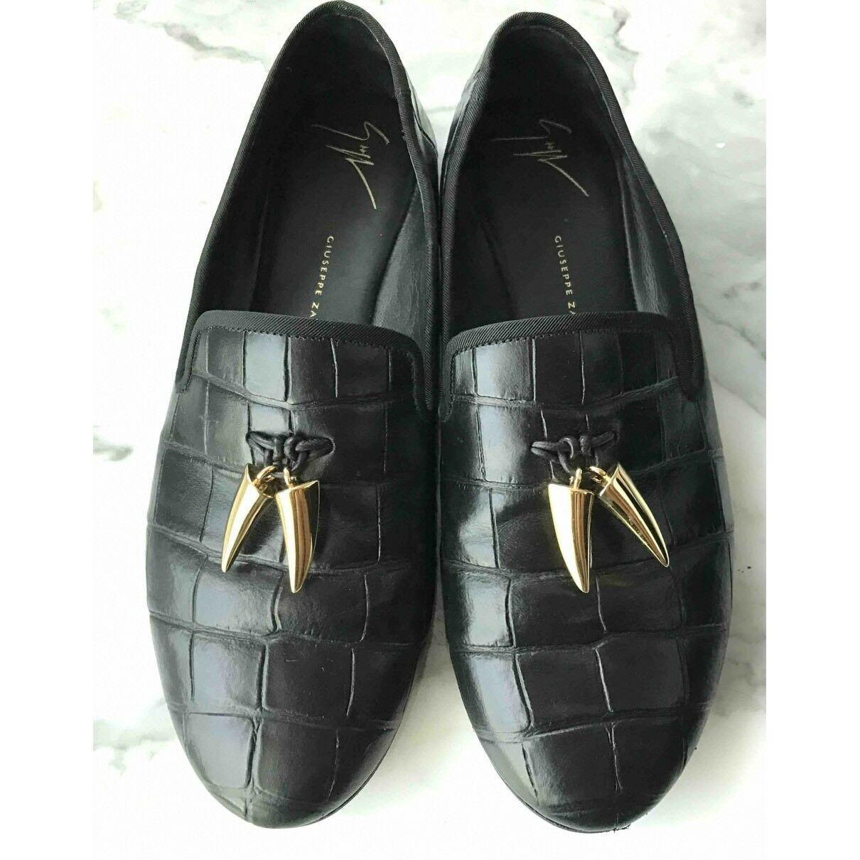 Giuseppe Zanotti Shark SPACEY Uomo Slippers Loafers Shoes Shark Zanotti Tooth Crocodile Print 01d1d8