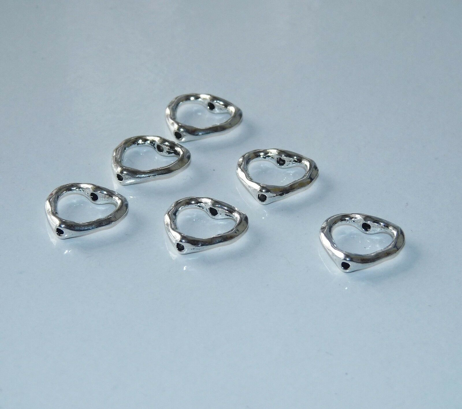 10 Flat Metal Spacer Bead Frame Heart Charm 14mm Fit 8mm Beading Supplies Silver