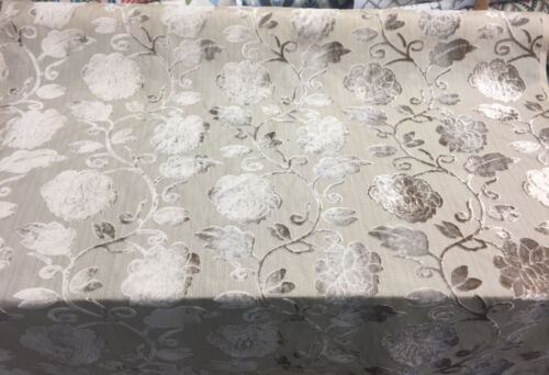 Italian Cut Cream Floral Burnout  Velvet fabric By the yard pillows curtains