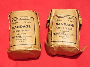 2-pcs-WWII-Plaster-of-Paris-Field-Cast-Chaard-Inc-Medic-3-034-x-15ft-Bandage-2-115