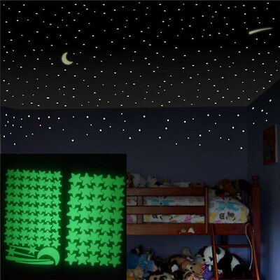 200x Stars/&Moon Glow In The Dark Luminous Fluorescent Wall Stickers Decor 4.3CM