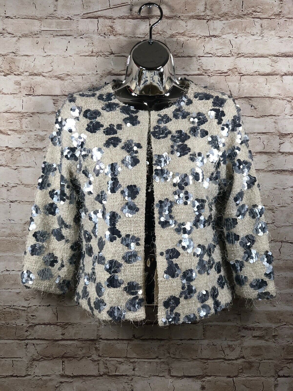 Skies are Blue womens sz xs cream and silver sequin tweed phantasy jacket