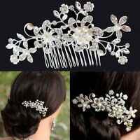 Wedding Bridal Pearl Hair Comb Flower Crystal Hair Clips Bridesmaid Jewelry