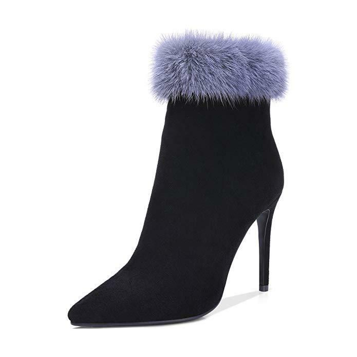 Women's Pointy Toe Zipper Suede Ankle Boots Winter Fur Stilettos shoes Plus Size