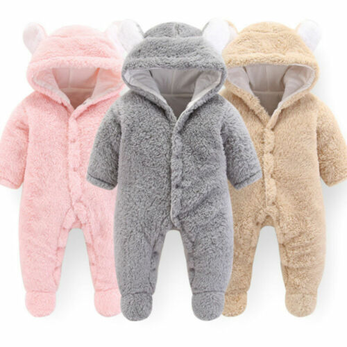 Newborn Baby Girl Boy Hooded Romper Jumpsuit Winter Warm Outfits Clothes