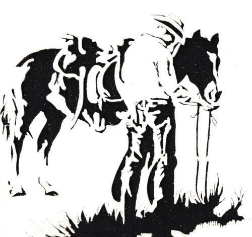 1 A4 MYLAR STENCILS CRAFTS TEMPLATES SCRAPBOOKING WESTERN COWBOY STENCIL