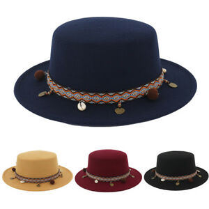 Beautiful Women Wide Brim Wool Belt Felt Flat Fedora Hat Party ... 30ce34c577e4