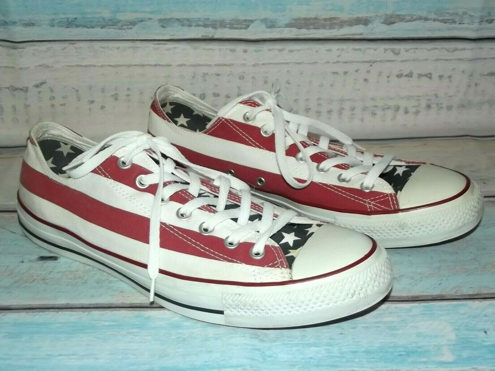 CONVERSE Chuck Taylor All Star OX USA Flag Stars Stripes Sneakers Mens Size 12