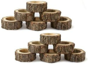 Ajuny Handmade Set Of 12 Wooden Decorative Napking Rings For Dinner Party Table Decor 1.5 inch